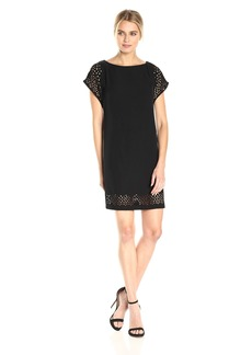 Calvin Klein Women's Laser Cut Short Sleeve Sheath Dress