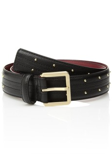 Calvin Klein Women's Leather Belt with Stitch and Stud Details black X-LARGE