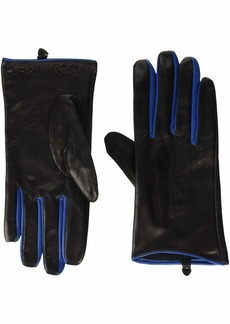 Calvin Klein Women's LEATHER GLOVES W/COLOR POP & DEBOSSED LOGO  S