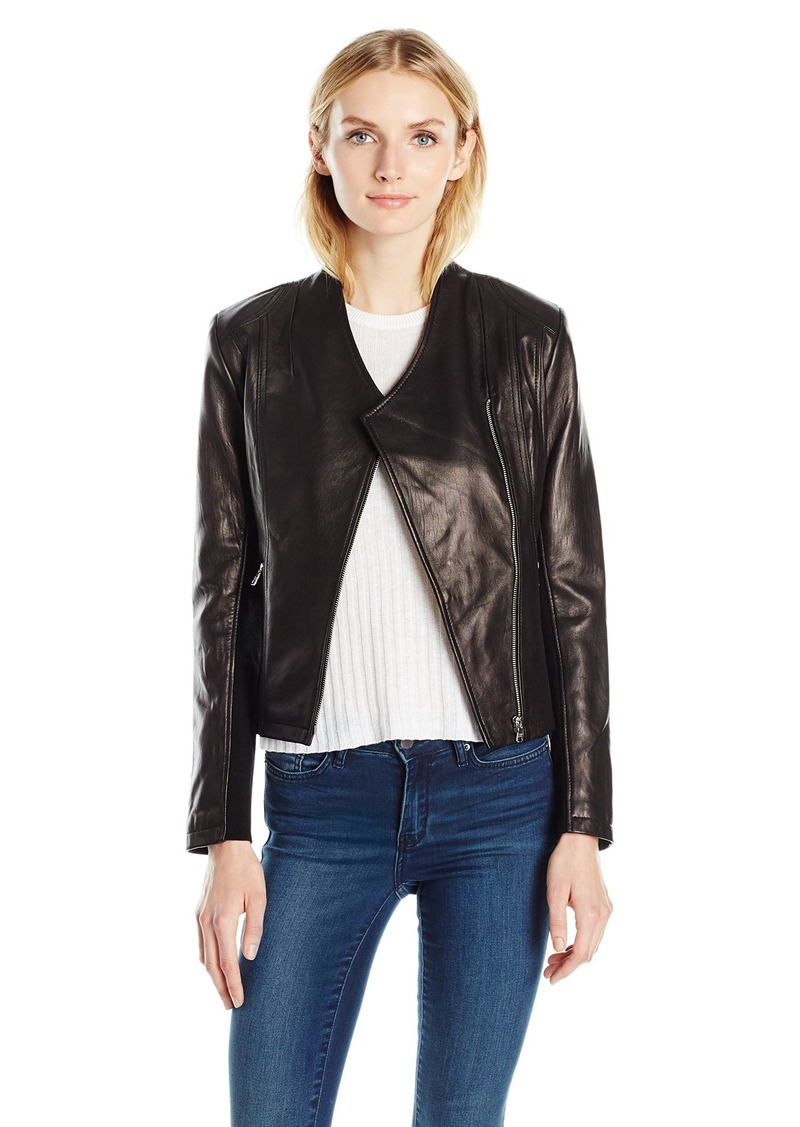 Calvin Klein Women's Leather Moto Jacket  M