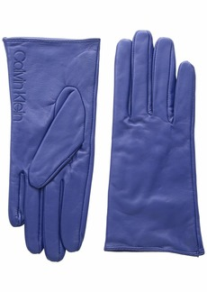 Calvin Klein Women's Leather/Suede Gloves W/Debossed Logo Night owl L