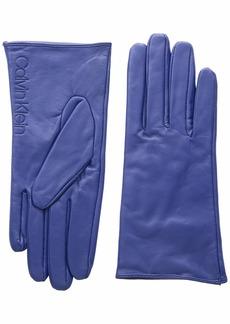 Calvin Klein Women's Leather/Suede Gloves W/Debossed Logo Night owl S