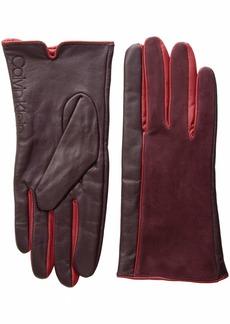 Calvin Klein Women's Leather/Suede Gloves W/POP Color FOURCHETTES  L