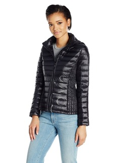 Calvin Klein Women's Lightweight Ribbed Down Jacket with Hood and Logo Black with Silver XS