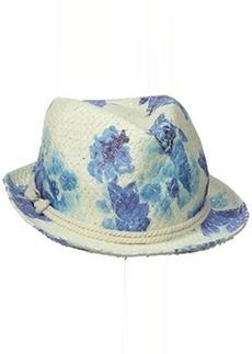 Calvin Klein Women's Lily Floral Straw Fedora Hat