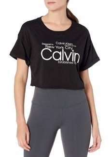 Calvin Klein Women's Logo Roll Cuff Short Sleeve Boxy Tee BLK - Black