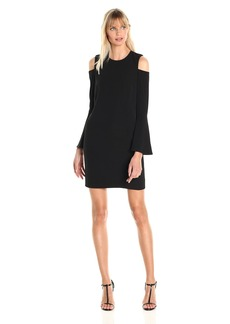 Calvin Klein Women's Long Bell Sleeve Shift Dress with Cold Shoulder Detail
