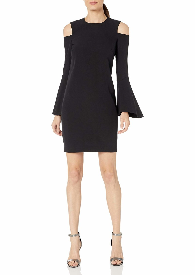 Calvin Klein Women's Long Bell Sleeve Shift Dress with Cold Shoulder Detail