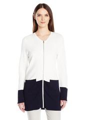 Calvin Klein Women's Long Colorblock Zip Cardigan  M