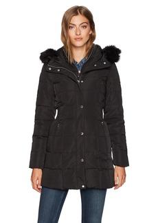 Calvin Klein Women's Long Down Puffer Coat with Bib and Faux Fur Collar  XS