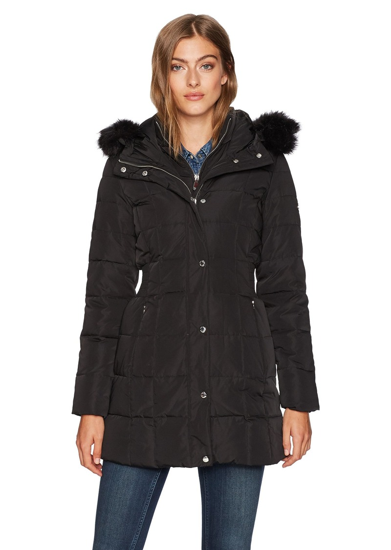 Calvin Klein Womens Long Down Puffer Coat With Bib And Faux Fur Collar Xs