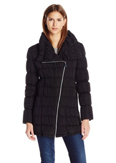 Calvin Klein Women's Long Moto Puffer Jacket  XL