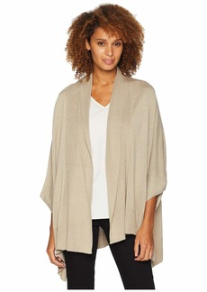 Calvin Klein Women's Long Rib Collar Knit Shawl heathered almond O/S