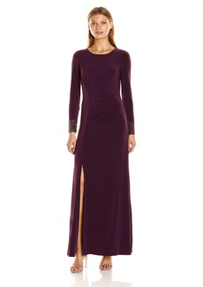 Calvin Klein Women's Long Sleebe Side Ruched Gown with Beading on Cuff