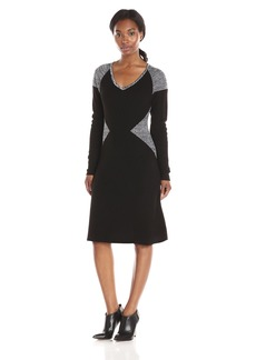 Calvin Klein Women's Long-Sleeve Blocked V-Neck Dress  S