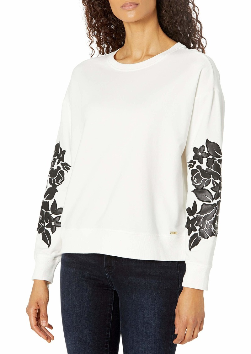 Calvin Klein Women's Long Sleeve Blouse with Floral Detail  Extra Large