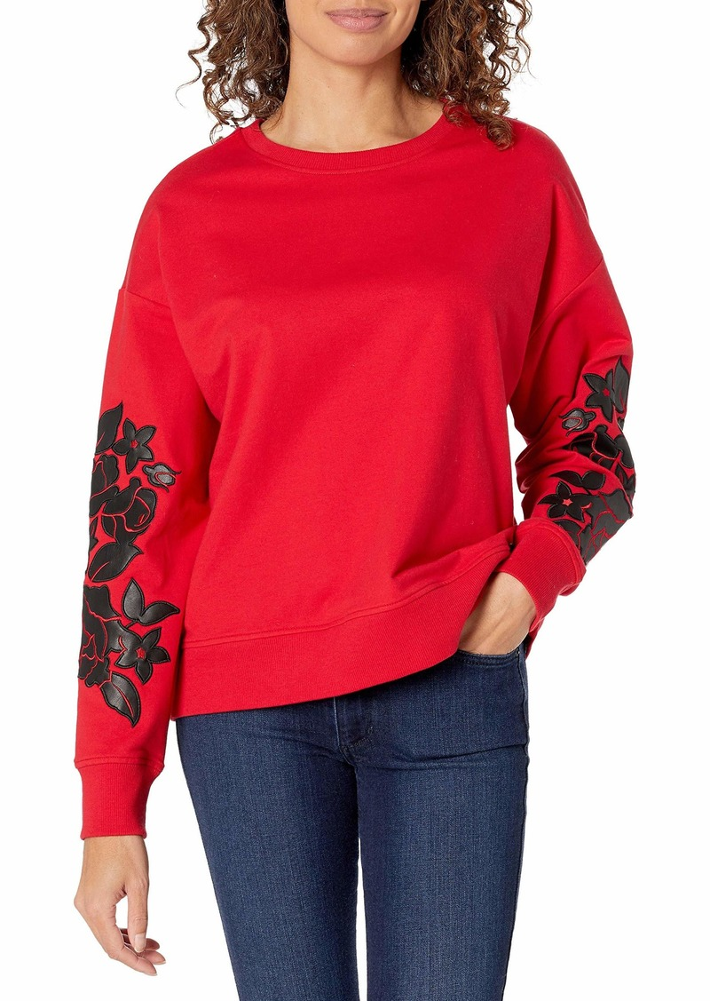 Calvin Klein Women's Long Sleeve Blouse with Floral Detail