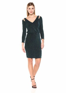 Calvin Klein Women's Long Sleeve Blouson Dress with Shoulder Cut Outs