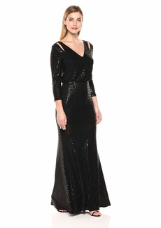 Calvin Klein Women's Long Sleeve Blouson Gown with Shoulder Cut Outs Black