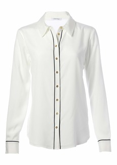 Calvin Klein Women's Long Sleeve Button Front Piped Blouse