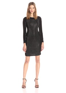 Calvin Klein Women's Long Sleeve Coctail Dress Hot Fix Front
