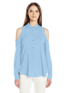 Calvin Klein Women's Long Sleeve Cold Shoulder Button Down Top  M