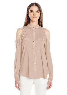 Calvin Klein Women's Long Sleeve Cold Shoulder Button Down Top  XS