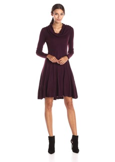 Calvin Klein Women's Long Sleeve Cowl Neck Fit and Flare Sweater Dress