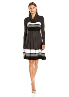 Calvin Klein Women's Long-Sleeve Cowl-Neck Fit and Flare Sweater Dress  M