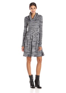 Calvin Klein Women's Long Sleeve Cowl Neck Printed Fit and Flare Sweater Dress Black/White