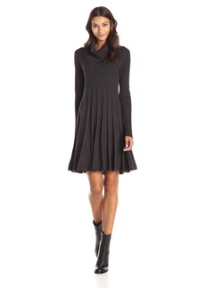 Calvin Klein Women's Long Sleeve Cowl Neck Sweater Dress Charcoal