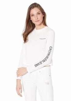 Calvin Klein Women's Long Sleeve Cropped Logo T-Shirt