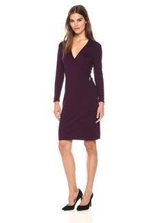 Calvin Klein Women's Long Sleeve Mock Wrap Sweater Dress  L