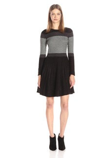 Calvin Klein Women's Long Sleeve Fit and Flare Cable Heather Dress  L
