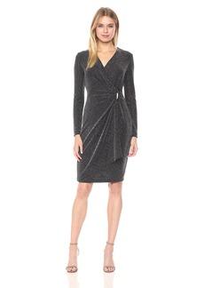 Calvin Klein Women's Three-Quarter-Sleeve Mock-Wrap Dress