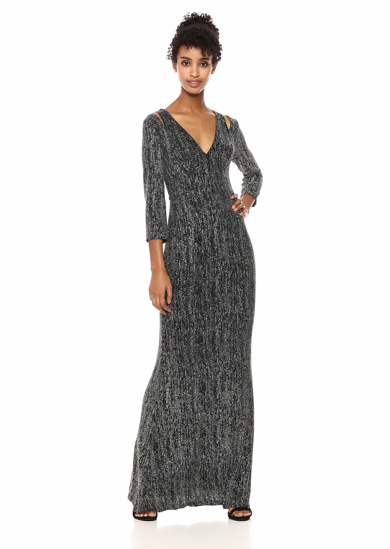 Calvin Klein Women's Long Sleeve Gown with Shoulder Cut Outs