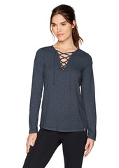 Calvin Klein Women's Long Sleeve Lace-up Front Tee  M