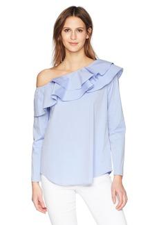 Calvin Klein Women's Long Sleeve One Shoulder Ruffle Blouse  S
