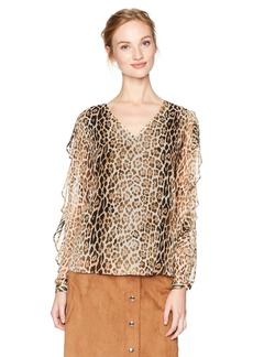 Calvin Klein Women's Long Sleeve Printed Blouse with Ruffle  L