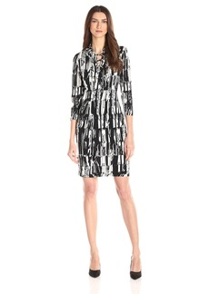 Calvin Klein Women's Long Sleeve Printed Dress with Lace Detail