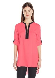 Calvin Klein Women's Long Sleeve Printed Zip Front Tunic  S