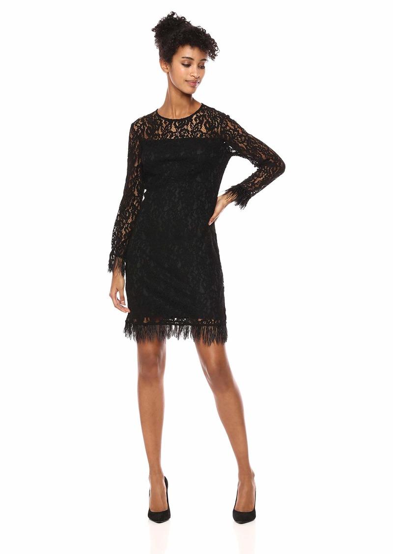 Calvin Klein Women's Long Sleeve Sheath with Feather Trim