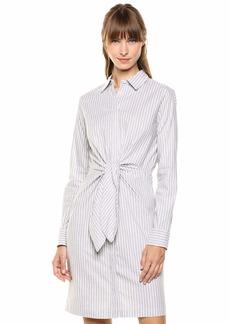 Calvin Klein Women's Long Sleeve Shirt Dress with Self Tie Waist Detail