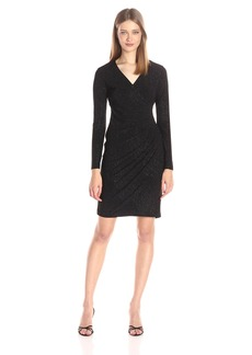 Calvin Klein Women's Long Sleeve Side Ruched Dress in Glittery Jersy Fabric