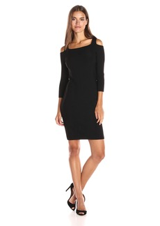 Calvin Klein Women's Long Sleeve Sweater Dress with Cold Shoulder
