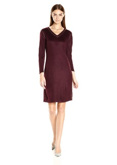 Calvin Klein Women's Long Sleeve Sweater Dress with Hot Fix Deatil  L