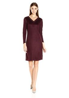 Calvin Klein Women's Long Sleeve Sweater Dress with Hot Fix Deatil  M