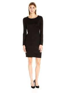 Calvin Klein Women's Long Sleeve Sweater Dress with Hot Fix Detail  L