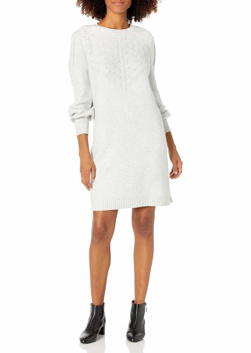 Calvin Klein Women's Long Sleeve Sweater Knit Dress Pom Detail TIN Heather