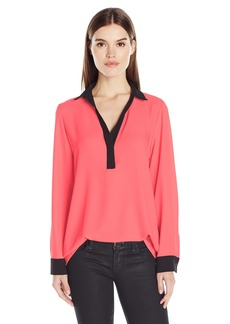 Calvin Klein Women's Long Sleeve Top with Contrasting Cuff  S
